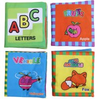 4PCS English Soft Cartoon Cloth Books Infant Learning Educational Cloth Book Toy Anti-tear washable Baby Reading Cloth Book